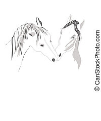 pair Horses stand tenderly touching - Horses pair stand...