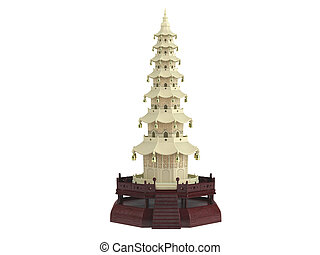 Statuette chinese house isolated on white background