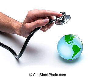 Doctor examines health of the Earth - Concept for world...