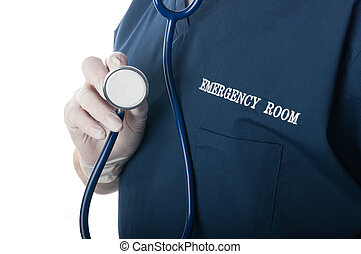 Emergency doctor with stethoscope - Emergency room doctor or...