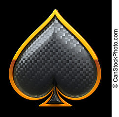Spades textured card suits over black - Spades textured card...