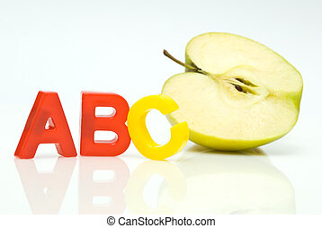 abc and green apple