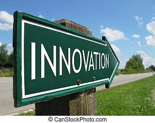innovación, camino, señal