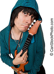 Bizarre young man with a little guitar Isolated on white
