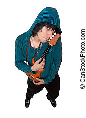 Bizarre young man with a little guitar Isolated