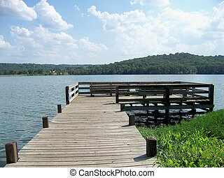 A Wooden Dock - This is a fishing dock on Bob Kidd lake in...