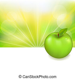 Green Apple And Nature Background, Vector Illustration