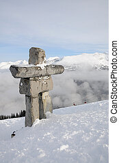 Ilanaaq inuksuk sculpture at Whistler municipal resort, British C
