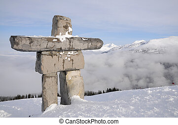 Ilanaaq inuksuk sculpture at Whistler municipal resort,...