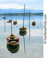 Pleasure boats on Pfaeffikersee, Switzerland