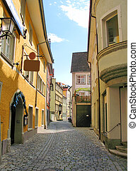 Old street of Lindau town, Germany