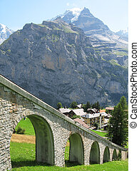 Mountain rail road in Muerren, famous Swiss skiing resort in...