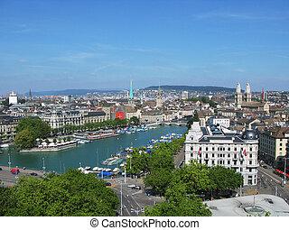 Aerial view of Zurich