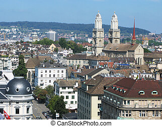 Aerial view of Zurich downtown