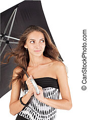 Young beautiful woman with black umbrella portrait