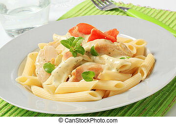 Pasta, chicken meat and cream sauce - Pasta tubes, chicken...
