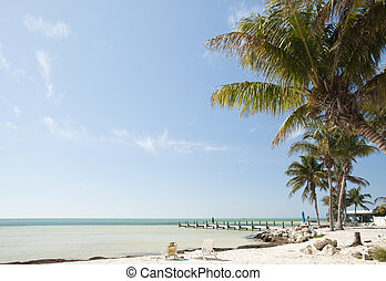 Florida keys beach landscape with sunbathing chairs, wooden...