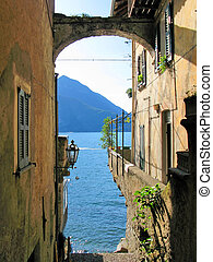 Romantic view to the famous Italian lake Como from Varenna...