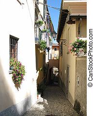 Narrow street of Menaggio, Italy