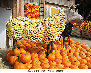 Horse sculpture at a pumpkins exhibition