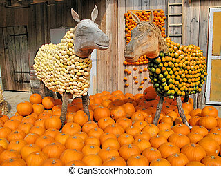 Horse sculptures at a pumpkins exhibition