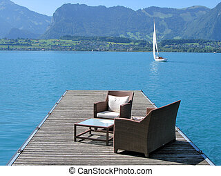 Romantic view to the lake Thun, Switzerland