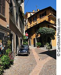 estreito, rua, Menaggio, cidade, lago, Como, Itália