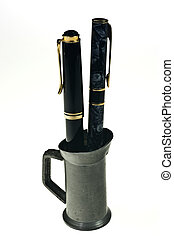 Fountain pens - Two fountain pens in a tin cup