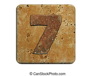 3d stone seven number , on a white isolated background.