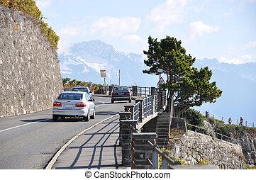 Mountain serpantine at Geneva lake, Switzerland