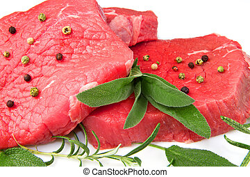 red meat - a red meat with sage and rosemary isolated on...