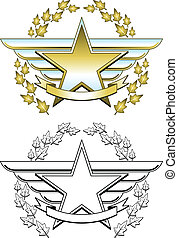 Gold star medal - Winged star medallion in two different...