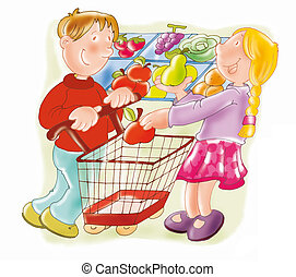 supermarket, shopping cart, fruit, children