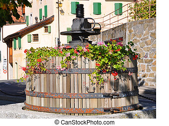 Old wine press in Lavaux region, Switzerland