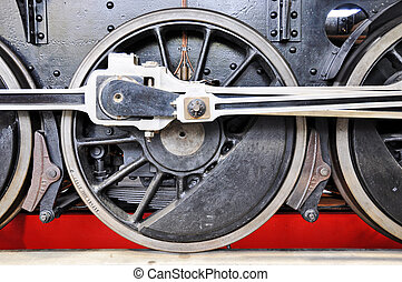 Wheel of an old train in the Museum of Transport in Lucerne, Switzerland