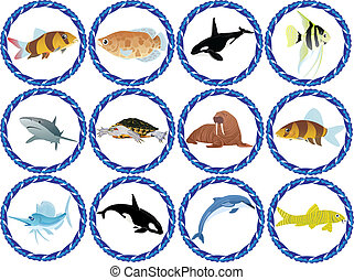 Residents of the Seas and Oceans - Badges with the...