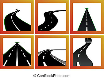 Roads and directions - Icons with abstract images of roads...
