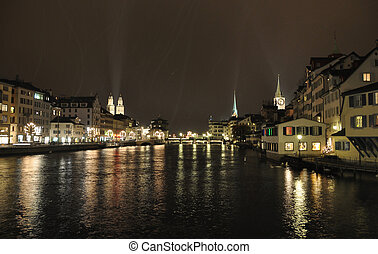 Zurich downtown at night