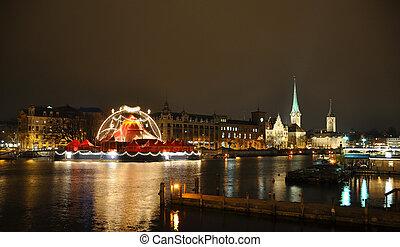 Zurich downtown at night