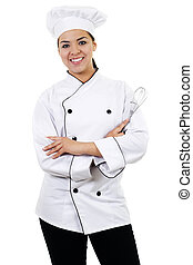 Female Chef - Stock image of female chef, isolated on white