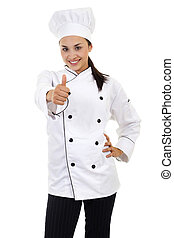 Female Chef - Stock image of female chef giving thumbs up,...