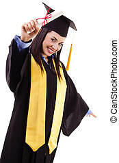 Graduation Day - Stock image of happy female graduate,...