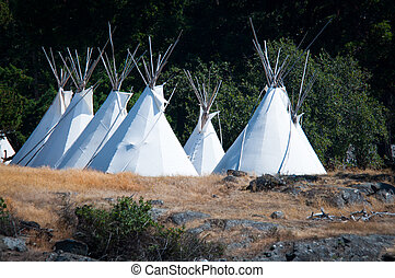 Native americans tipis on one of the Puget Sound islands in...