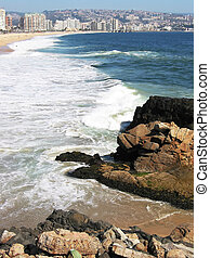 Pacific shore of Vina del MAr, Chile