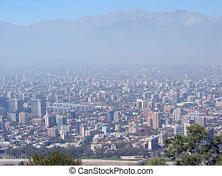 Thick smog over Santiago Chile