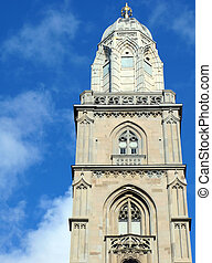 Double headed top of Grossmunster church -- symbol of Zurich...