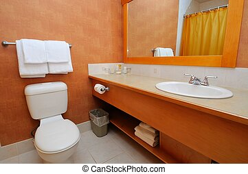 Toilet bowl and basin - Luxurious washroom with toilet bowl...