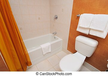 White toilet and bathtub