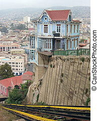 Hillside house at funicular line Valparaiso, Chile