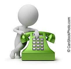 3D, pequeño, gente, -, llamada, teléfono